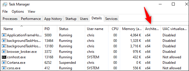 The Architecture column in Windows 10's Task Manager.