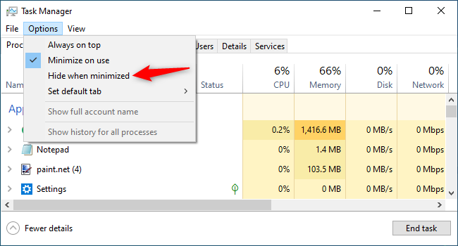 "Enabling ""Hide when minimized"" for the Windows taskbar."