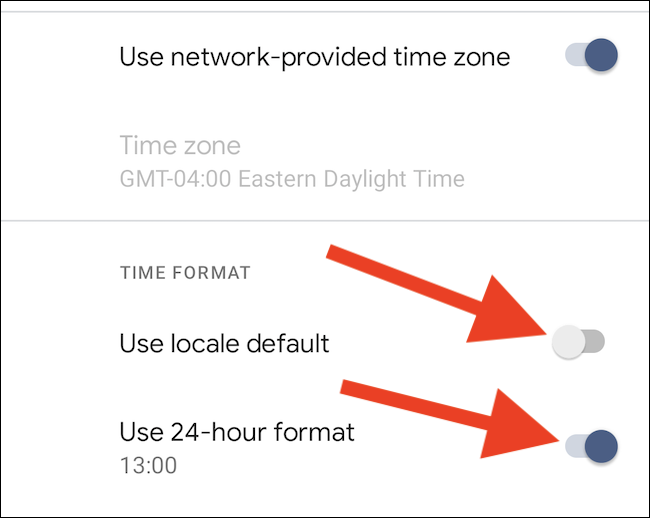 "Toggle off ""Use Locale Default"" and enable ""Use 24-Hour Format"""