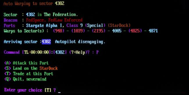 "A text scene from the BBS door game ""TradeWars 2002."""