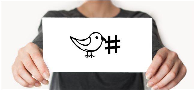 Alguien sosteniendo una tarjeta con el pájaro de Twitter dibujado junto a un hashtag.
