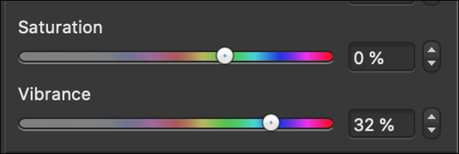 """The """"Saturation"""" and """"Vibrance"""" sliders in a photo editor."""