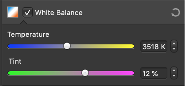"""The """"White Balance"""" sliders in a photo editor."""