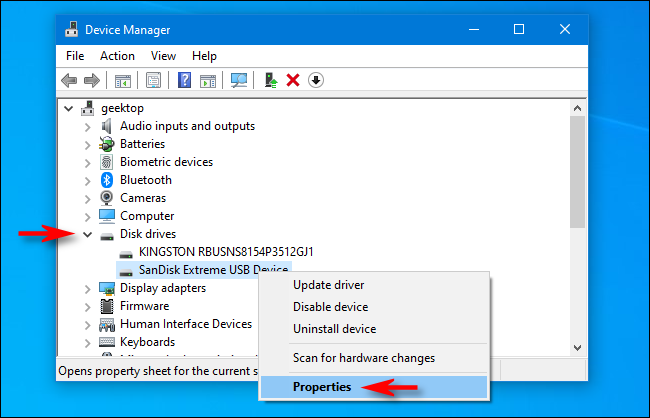 """Click the arrow next to """"Disk Drives,"""" right-click the external USB drive, and then select """"Properties."""""""