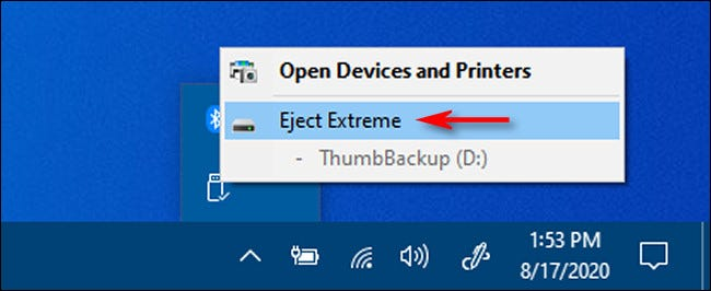 """Click """"Eject"""" and the name of the USB drive you'd like to remove in Windows 10."""