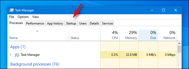 """In Task Manager, click the """"Startup"""" tab."""