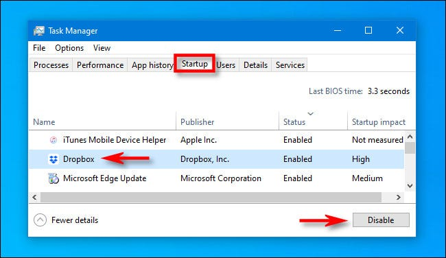 """In Task Manager, click the """"Startup"""" tab, then select """"Dropbox"""" and click """"Disable."""""""
