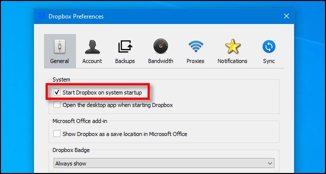 "Uncheck ""Start Dropbox on system startup"" on Windows 10."