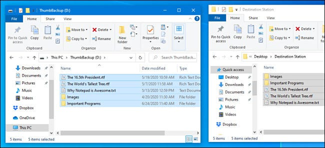The files have been copied to the USB flash drive in Windows 10.