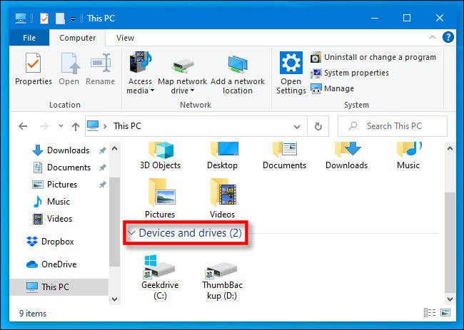"""In This PC, locate the """"Devices and drives"""" section in Windows 10 File Explorer."""