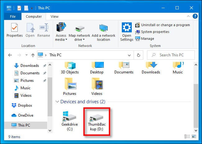 In This PC, locate your thumb drive in Windows 10 File Explorer.
