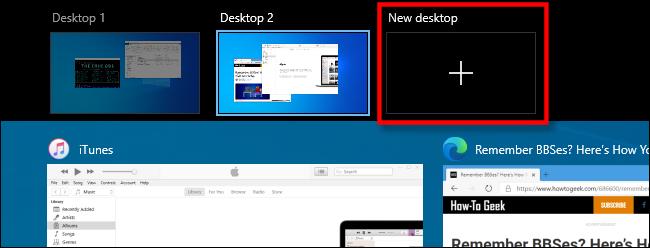"Select ""New Desktop"" in Task View on Windows 10."