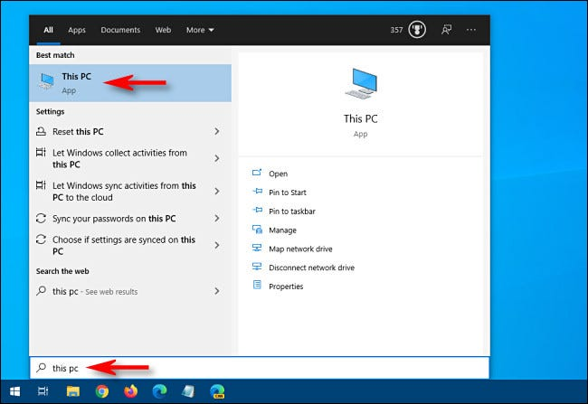 """Open the Start menu in Windows 10 and type """"This PC"""" and hit Enter."""