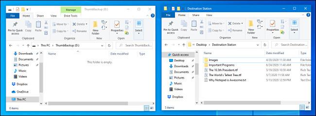 Two File Explorer windows open side-by-side in Windows 10.