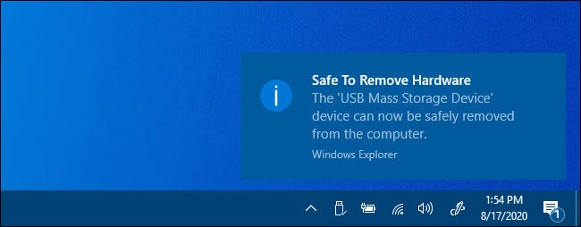 "A ""Safe to Remove Hardware"" notification in Windows 10."