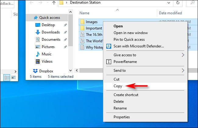 "In the source window, right-click the file selection and select ""Copy"" from the pop-up menu in Windows 10."