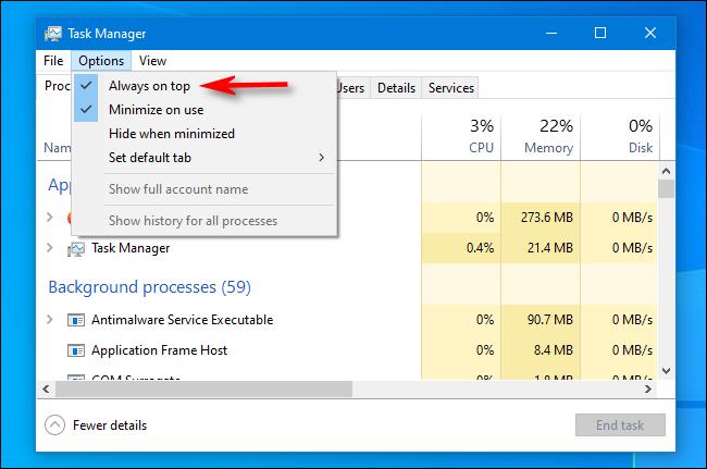 """En el Administrador de tareas de Windows 10, haga clic en """"Siempre visible"""" en el menú """"Opciones""""."""