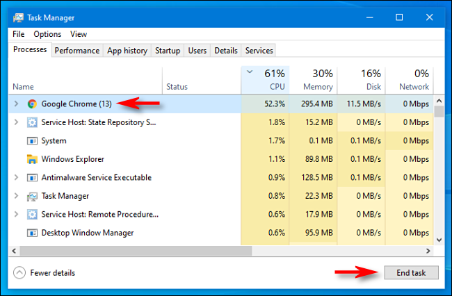 "Select the process in Task Manager and click ""End Task"" in Windows 10."