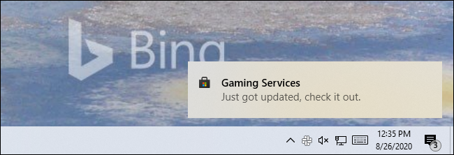 """A Store notification on Windows 10 saying an app """"Just got updated, check it out."""""""
