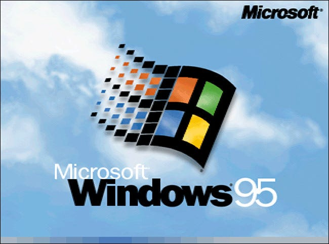 The Microsoft Windows 95 logo on startup.