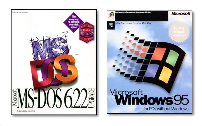 The box art on Microsoft MS-DOS 6.22 and Windows 95.