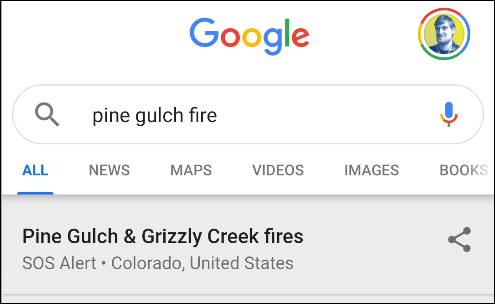 google wildfire search