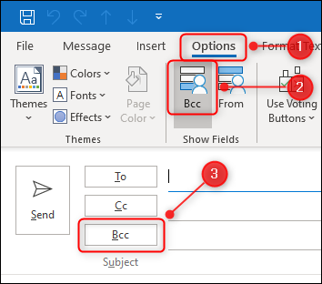 "Outlook's ""BCC"" toggle button."