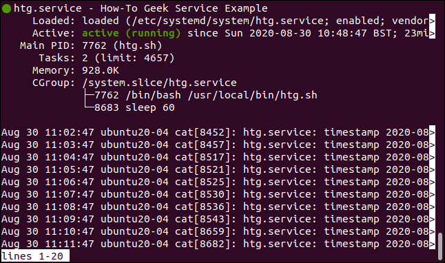 Status of htg.service in a terminal widnow