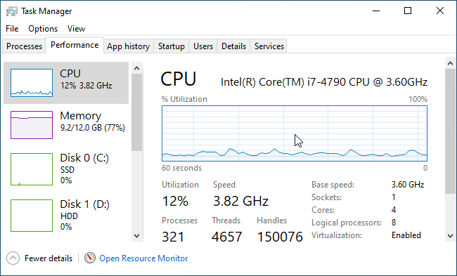 Enable a floating CPU usage window in Task Manager.
