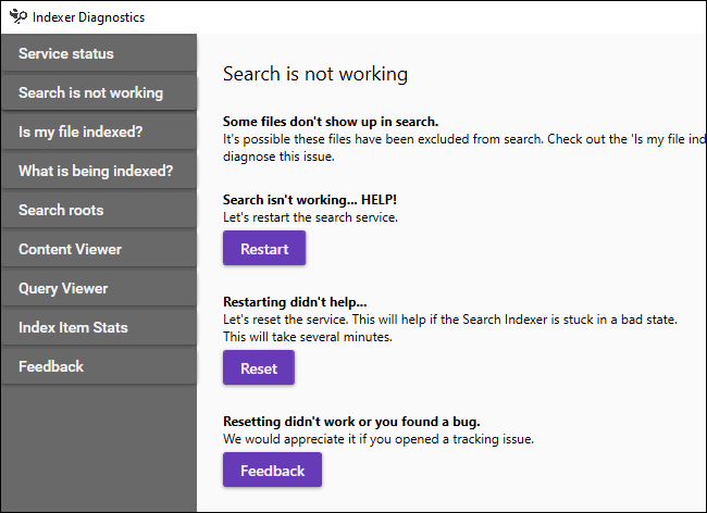 Troubleshooting Windows search does not work in Indexer Diagnostics.