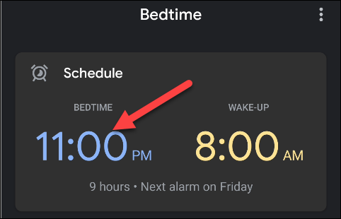 Press the time you set as bedtime.
