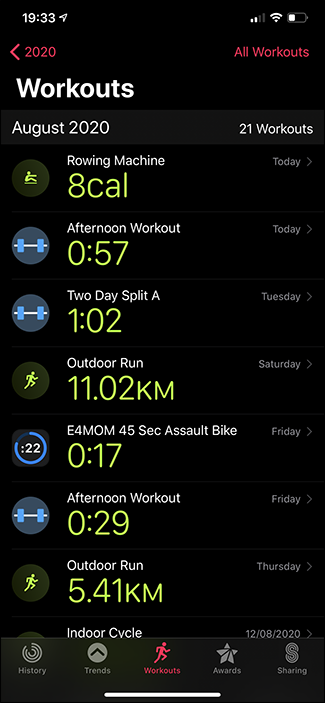 activities app workouts tab