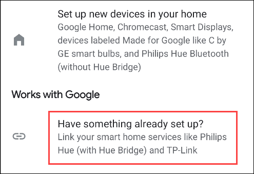 set up an existing service in google home
