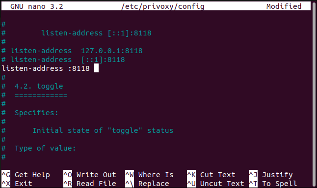 The new listening address setting in the privoxy configuration file in nano, in a terminal window.