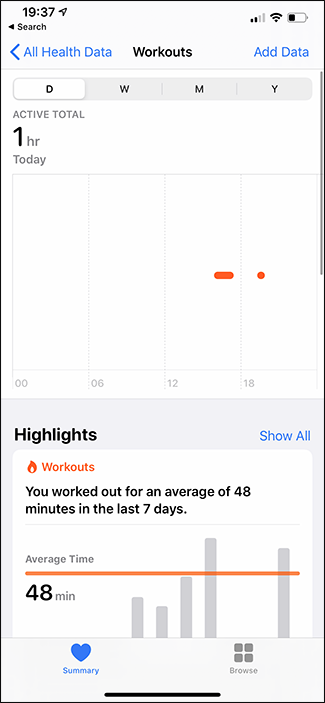 apple health app workouts tab