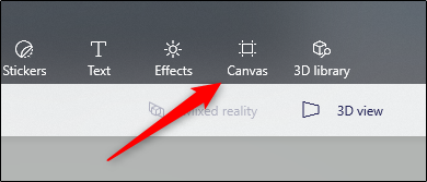 Canvas options in the menu