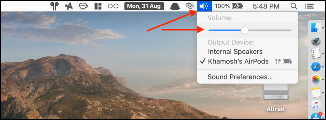 Change the volume from the menu bar