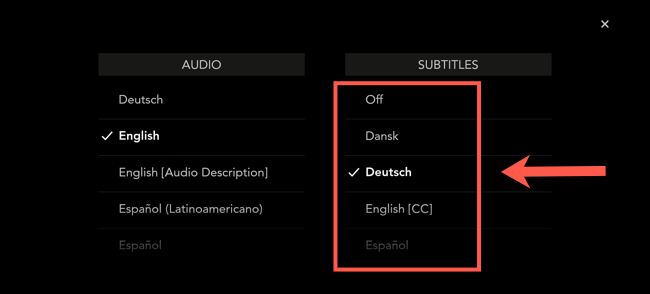 "In the Disney+ mobile app, select one of the languages from the ""Subtitles"" menu. Otherwise, select ""Off"" to disable them."