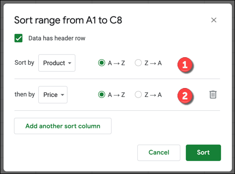 A sorting option for Google Sheets with multiple columns added.