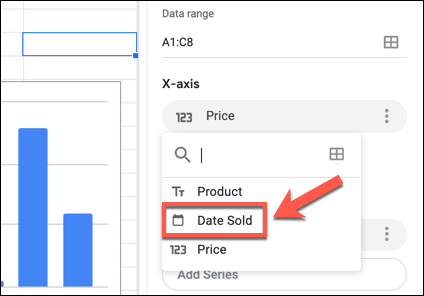 Click on an X or Y axis label in the Google Sheets Chart Editor panel, then select an alternative column from the drop-down menu.