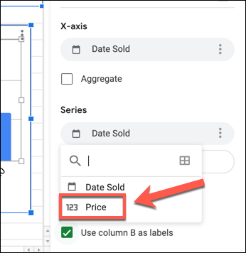 """To change the Y-axis on a Google Sheets chart, select the first column listed under the """"Series"""" category in the """"Setup"""" tab of the Chart Editor panel and select a replacement column."""