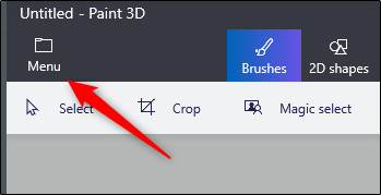 Menu options in 3d paint