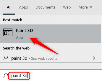 Search for Paint 3D