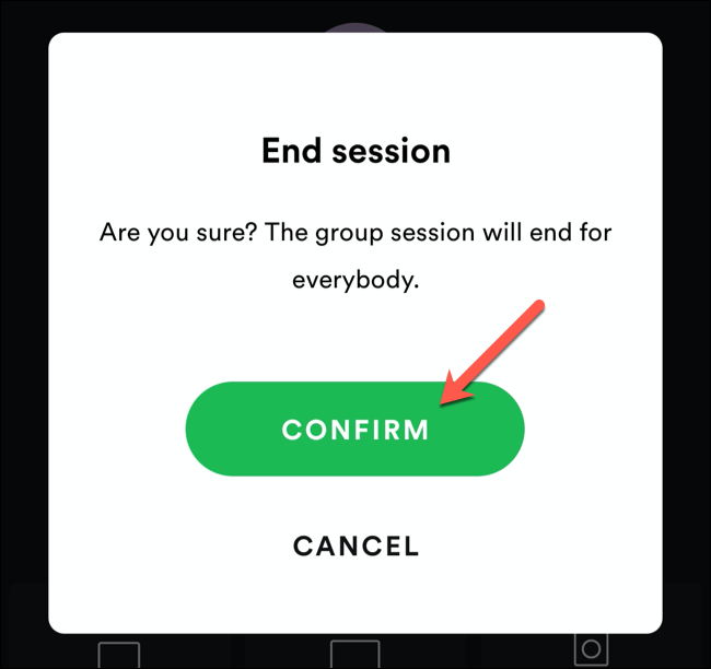 Tap Confirm to confirm the end of a Spotify group session.
