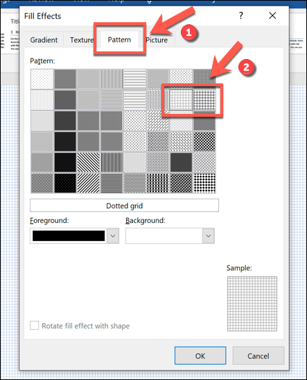 "Click ""Pattern,"" and then select either ""Dotted Grid"" or ""Large Grid."""