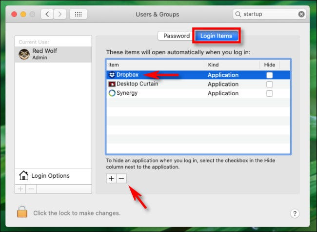"""In """"Login Items,"""" select """"Dropbox"""" from the list and click the """"minus"""" button on Mac."""