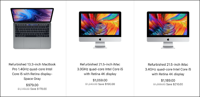 Three refurbished Macs for sale on the Apple website.