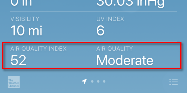 Checking Air Quality Index (AQI) on an iPhone with Apple Weather.