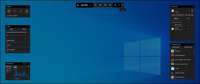 The Game Bar overlay on Windows 10.