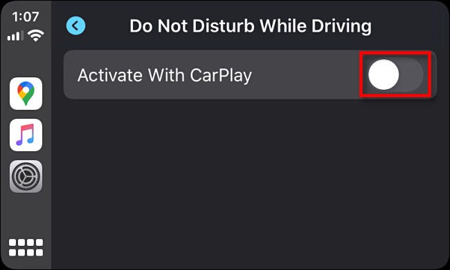 "Tap the switch beside ""Activate With CarPlay"" in Apple CarPlay Settings."